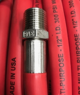 CRIMPED ON HOSE END IN 316 STAINLESS STEEL, CRIMPED ON HOSE END IN 316 STAINLESS STEEL (EACH END)