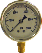 "S.S. PRESSURE GAUGE 5000 PSI 1/4"" MPT, S.S. PRESSURE BOTTOM MOUNT GAUGE 5000 PSI 1/4"" MPT, 2427"