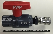 "SOFTWASH BALL VALVE, CHEMICAL GUN, ROOF WASH BALL VALVE, SOFTWASH APPLICATOR, 1/2"" FPT SCH 80 BALL VALVE SOFTWASH CHEMICAL APPLICATOR ASSEMBLY, BV08RB.80"